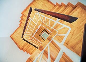 a view down a timber stairwell