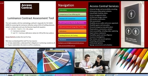 Front Page of Luminance Contrast Assessment Tool