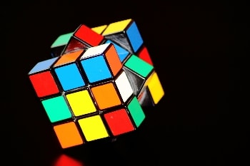 A rubiks cube with the central line of colours rotated 45 degrees