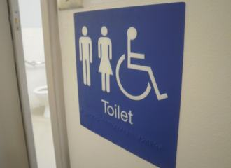 Unisex Accessible Disabled Toilet Sign with Braille and Tactile text, blue background