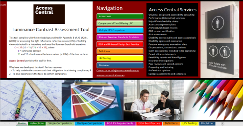 Luminance Contrast Assessment Tool by Access Central Front Page screen image